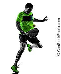 padel, tennis, freigestellt, spieler, hintergrund, weißes, mann