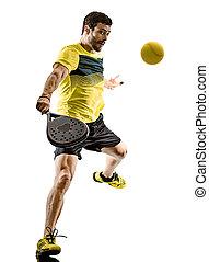 padel, tennisspieler, mann, freigestellt, weißer hintergrund