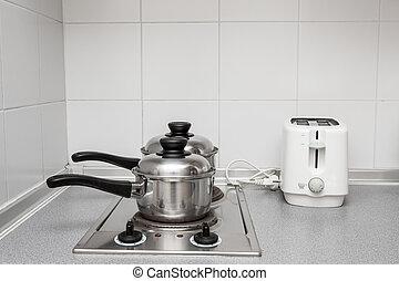 padella, e, cucinare pot, a, il, induzione, stufa
