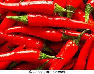 padi, arriba, fondo alimento, cierre, chile, rojo
