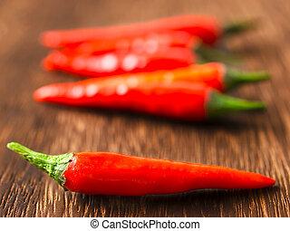 padi, do góry szczelnie, stół, chili, czerwony