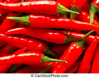 padi, uppe, mat fond, nära, chili, röd