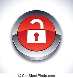 Padlock 3d button. - Padlock metallic 3d vibrant round icon....