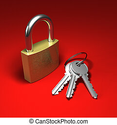 Padlock and bunch of keys on red