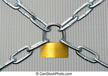 Padlock and chain on punching metal.