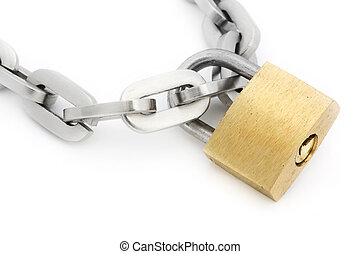 Padlock and chain over white
