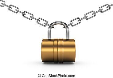 padlock and chain isolated on white background. 3d rendered...