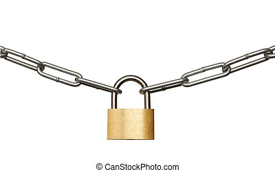 Padlock and Chain - Isolated padlock and chain