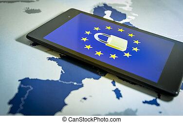 Padlock and EU flag inside a smartphone and EU map, GDPR ...