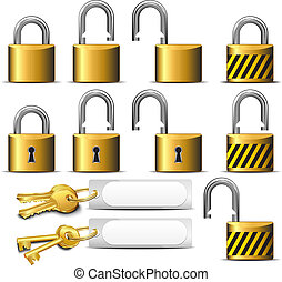 Padlock and Key Brass - A set of Padlocks and Keys in Brass...