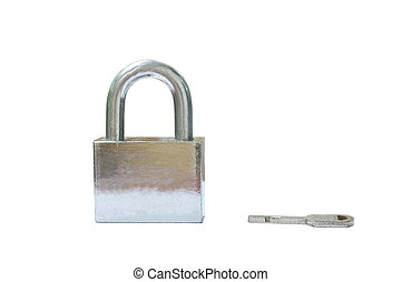 padlock and key on wooden white background