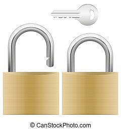 padlock and key - opened and closed padlock and silver key...