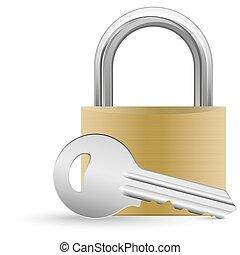 padlock and key - closed padlock and silver key with shadow...
