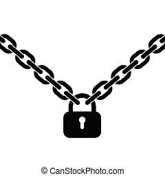 Padlock and metal chain