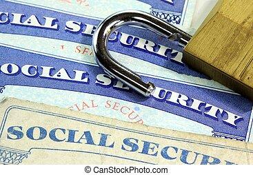 Padlock and social security card