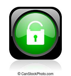 padlock black and green square web glossy icon