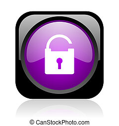padlock black and violet square web glossy icon