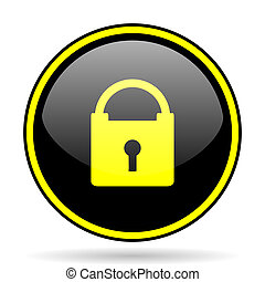 padlock black and yellow glossy internet icon