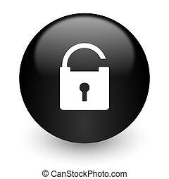 padlock black glossy internet icon