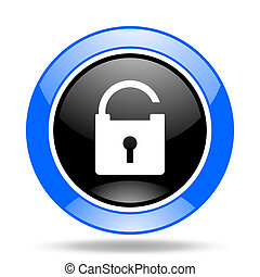 padlock blue and black web glossy round icon
