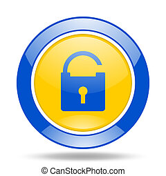padlock blue and yellow web glossy round icon