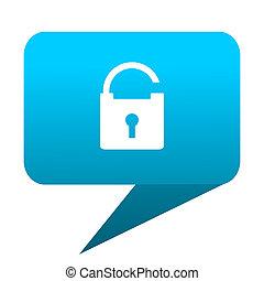 Padlock blue bubble icon