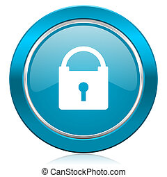 padlock blue icon secure sign