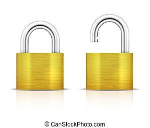 padlock., cadenas, métallique, verrouillé, déverrouillé