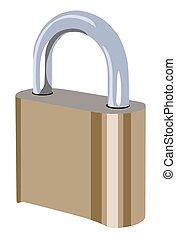 Closed padlock on a white background