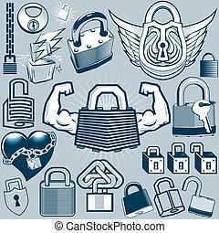 Padlock Collection - Clip art collection of various padlocks