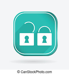 padlock. Color square icon