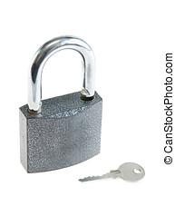 padlock, com, um, tecla, isolado, sobre, fundo branco