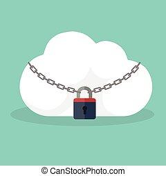 padlock., concept., vingerafdruk, gesloten, veiligheid, pictogram, wolk, biometric