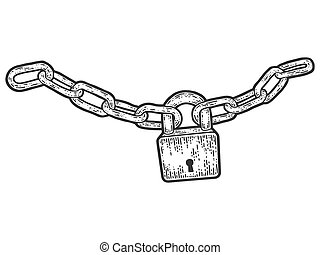 Padlock connected the chain. Sketch scratch board imitation. Black and white. Engraving vector illustration.