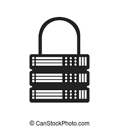 Padlock data center security system protection icon. Vector grap