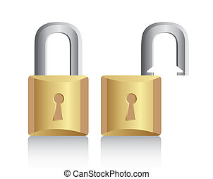 padlock - gold padlock open and closed with shadow. vector...