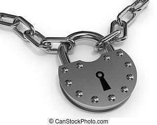 padlock, e, chain.