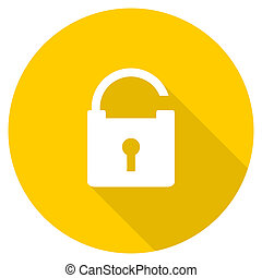 padlock flat design yellow web icon