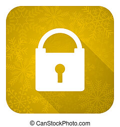 padlock flat icon, gold christmas button, secure sign