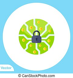 Padlock flat vector icon sign symbol