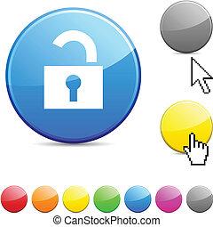 Padlock glossy button. - Padlock glossy vibrant round icon.