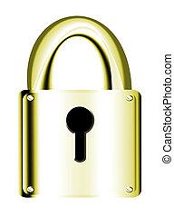 Padlock - Gold padlock over white background. security...