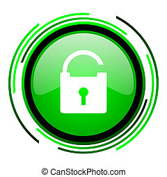 padlock green circle glossy icon