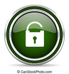 padlock green glossy web icon
