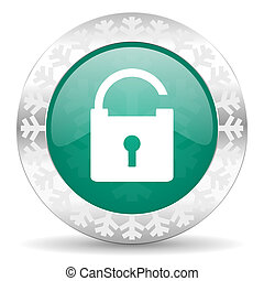 padlock green icon, christmas button, secure sign