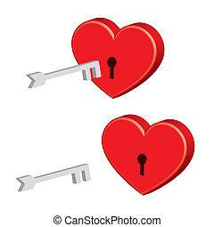 padlock heart with key