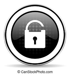 padlock icon, black chrome button, secure sign