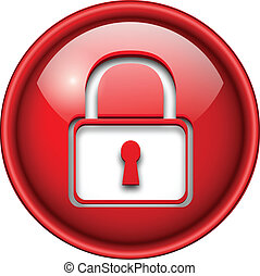 Padlock icon, button, 3d red glossy circle.