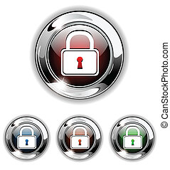 Padlock icon, button, vector illust