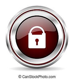 padlock icon chrome border round web button silver metallic pushbutton